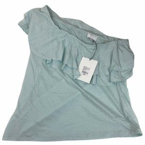 Witchery Blue One Shoulder Blouse Top Size M NWT